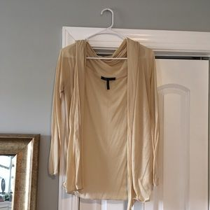 BCBG sheer cardigan sweater cover up taupe/beige